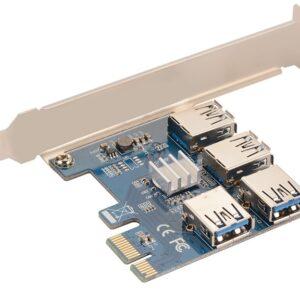 رایزر گرافیک یا همان تبدیل ۱ پورت PCI-E 1X به ۴ پورت PCI-E 16X برای اتصال ۴ کارت گرافیک بر روی یک مادربورد استفاده میگردد. رایزر گرافیک توسط پورت PCI-E بر روی اسلت ۱X مادربورد قرار گرفته و ۴ خروجی اسلت PCI-E ۱۶X را میدهد.منبع تغذیه تبدیل ۱به۴ رایزر گرافیک کابل USB 3.0 میباشد. هدف از استفاده از رایزر گرافیک کاهش دمای کارت گرافیک میباشد که بوسیله تبدیل ۱ پورت PCI-E 1X به ۴ پورت PCI-E 16X میتوان ۴ گرافیک ۱۶X را متصل نمود.